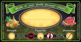 Ezigaretteneflüssigkeitssaftflaschenphiolen-Aufkleberschablone Vape fruchtige gewürzte lizenzfreie stockfotografie