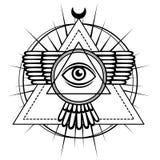 Ezoteryczny symbol: oskrzydlony ostrosłup, wiedzy oko, święta geometria ilustracja wektor