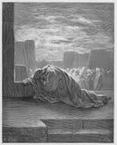 Ezra klęczy w modlitwie ilustracji