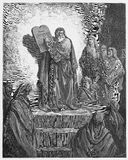 Ezra liest das Gesetz zu den Israeliten lizenzfreie stockbilder