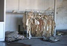fábrica abandonada de la fabricación de la ropa con las muestras arruinadas Imágenes de archivo libres de regalías