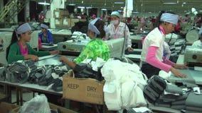 Fábrica asiática da indústria de vestuário: Bandeja lenta em torno da sala do rolamento de matéria têxtil vídeos de arquivo