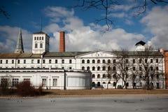 Fábrica blanca en Lodz, Polonia fotos de archivo libres de regalías