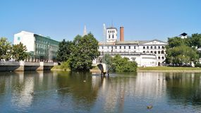 Fábrica blanca, museo central de materias textiles, Lodz, Po Fotos de archivo