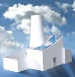 Fábrica com os painéis solares no tempo nebuloso ilustração stock