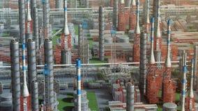 Fábrica da planta de refinaria do petróleo e gás, opinião da órbita, laranja vermelha, zona do petróleo da indústria, aço da tubu