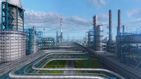 Fábrica da planta de refinaria do petróleo e gás, zona do petróleo da indústria, aço da tubulação e tanque de armazenamento do ól ilustração royalty free