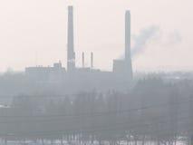 Fábrica da poluição do ar Fotografia de Stock