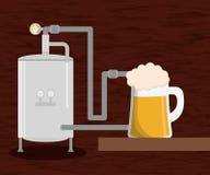 fábrica da produção da cerveja da cervejaria e vidro de cerveja ilustração do vetor