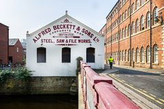 Fábrica de aço de antigo sheffield de Alfred Beckett & dos filhos em Sheffield, Yorkshire, Reino Unido fotografia de stock
