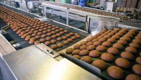 Fábrica de la comida de la confitería Cadena de producción o banda transportadora, manufactura de proceso de las galletas que cue foto de archivo