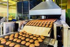 Fábrica de la confitería Cadena de producción de las galletas de la hornada Foco selectivo foto de archivo