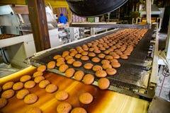 Fábrica de la confitería Cadena de producción de las galletas de la hornada Galletas que se mueven a lo largo de transportador fotos de archivo libres de regalías