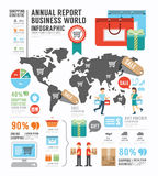 Fábrica de la industria del mundo del negocio del informe anual de Infographic Foto de archivo libre de regalías