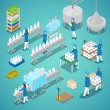 Fábrica de la leche Cadena de producción automatizada en las instalaciones lecheras con los trabajadores Ejemplo plano isométrico Imágenes de archivo libres de regalías