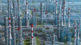Fábrica de la planta de refinería del petróleo y gas con diseño de la fórmula química, la opinión de la órbita, la zona del petró metrajes
