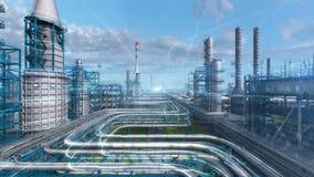 Fábrica de la planta de refinería del petróleo y gas con diseño de la fórmula química, zona del petróleo de la industria, acero d metrajes