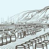 Fábrica de los pescados stock de ilustración
