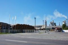 Fábrica de madera con las chimeneas que fuman Foto de archivo