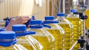 Fábrica de proceso del aceite de girasol Manija del arreglo del trabajador en la botella plástica 4K