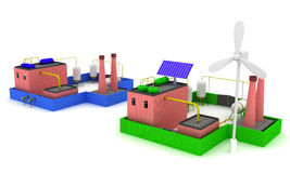 fábrica de productos químicos 3D con rendimiento energético azul de la cerca y de la fábrica con el molino de viento Imagen de archivo libre de regalías