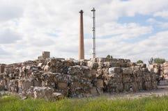 Fábrica de reciclaje de papel Imagenes de archivo