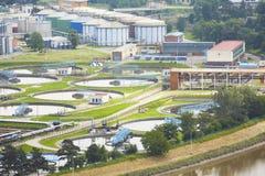 Fábrica de tratamento das águas residuais Foto de Stock Royalty Free