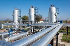 Fábrica de tratamento do petróleo e gás Fotografia de Stock