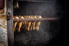 Fábrica de tratamento dos peixes Peixes de fumado quente frio Peixes fumado na caixa do fumeiro Fim acima dos peixes do processo  fotos de stock