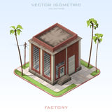 Fábrica del edificio de ladrillo en isométrico Ilustración del vector Fotografía de archivo libre de regalías