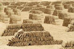 Fábrica del ladrillo del fango, Shibam, valle de Hadhramaut, Yemen Fotos de archivo libres de regalías