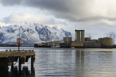 Fábrica do óleo de peixes. fotografia de stock