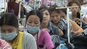 Fábrica do vestuário de matéria têxtil: Linha de MCU de perspectiva dos trabalhadores video estoque