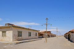 Fábrica dos trabalhos do salitre abandonado de Humberstone e de Santa Laura, perto de Iquique, o Chile do norte, Ámérica do Sul imagem de stock royalty free