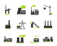 Fábrica e símbolos da indústria Fotografia de Stock