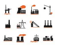 Fábrica e símbolos da indústria Foto de Stock Royalty Free