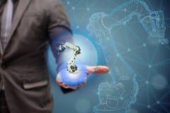 Fábrica elegante de Iot, industria 4 0 conceptos de la tecnología, robot de la demostración 3d del ingeniero en fondo de la fábri foto de archivo libre de regalías