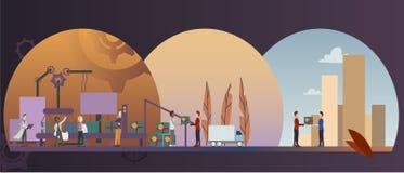 Fábrica elegante eficiente con los trabajadores, los robots y la planta de fabricación ilustración del vector