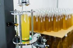 Fábrica embotelladoa - línea de la botella de cerveza para la cerveza de proceso y embotelladoa en las botellas imágenes de archivo libres de regalías