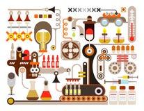 Fábrica farmacêutica, laboratório médico ilustração stock