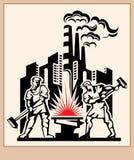 Fábrica industrial con los forjadores de trabajo. Fotografía de archivo