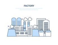 Fábrica industrial en paisaje urbano de la calle de la ciudad Edificio de la fábrica de la fabricación Imagenes de archivo