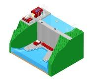 A fábrica isométrica Electric Power da planta hidroelétrico posta Ilustração Royalty Free