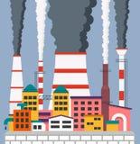 Fábrica poluindo o ar, paisagem industrial com chaminés Imagem de Stock