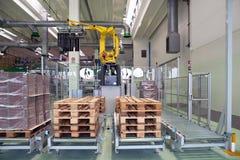 Fábrica - produção de recipientes dos gêneros alimentícios do cartão imagem de stock