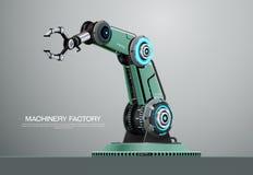 Fábrica robótica de la mano de brazo del robot de la máquina ilustración del vector