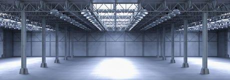 Fábrica vazia com lâmpadas Fotografia de Stock