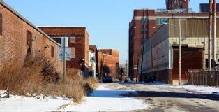 Fábrica vieja abandonada durante quiebra en Detroit Fotos de archivo