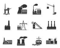 Fábrica y símbolos de la industria Foto de archivo