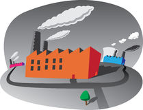 Fábricas poluir Fotografia de Stock Royalty Free